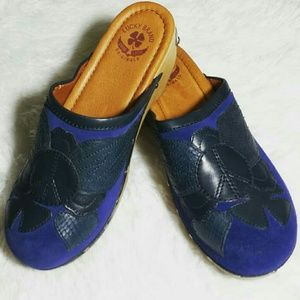 Lucky Brand Peace & Love Blue Suede Clogs (8.5)